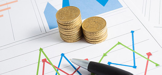 Coins on a financial chart